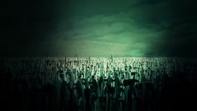 Ogromny wojsko Średniowieczni wojownicy Pod Błyskawicowym burza wmarszem Zwalczać ilustracji