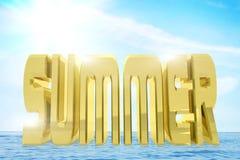 Ogromny złoty słowo lato przeciw jaskrawemu pogodnemu krajobrazowi royalty ilustracja