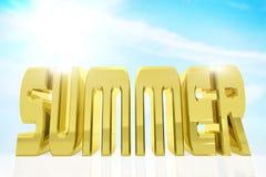 Ogromny złoty słowo lato przeciw niebieskiemu niebu ilustracja wektor