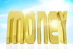 Ogromny złoty słowo pieniądze przeciw niebieskiemu niebu ilustracji