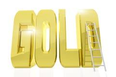Ogromny złoty słowo złoto z drabiną obok go ilustracji