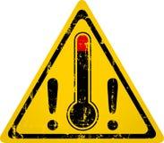Ogrzewa znaka ostrzegawczego z termometrem, grungy stylowy wektor Zdjęcie Stock