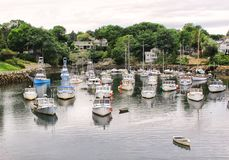 Ogunquit, Maine, Perkins Cove fishing boats. Ogunquit, Maine, Perkins Cove colorful fishing and pleasure boats in harbor Royalty Free Stock Photography