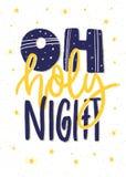 Oh святая ноча Дизайн плаката или карточки рождества литерности руки Стоковое Фото