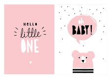 Oh Baby, hallo kleines  Hand gezeichneter Babyparty-Vektor Illlustrations-Satz stock abbildung
