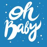 Oh, Baby. Hand drawn vector lettering isolated on white background. Lettering for babies clothes and nursery decorations bags, posters, invitations, cards vector illustration