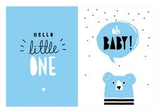 Oh Baby, Hello Little One. Hand Drawn Baby Shower Vector Illlustration Set. Oh Baby, Hello Little One. Blue Cute Bear with Blue Speech Cloud. Black Dots on White vector illustration