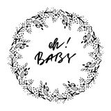 Oh baby phrase. Baby shower invitation card. Ink illustration. Modern brush calligraphy. Isolated on white background Royalty Free Stock Photos