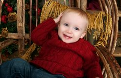 Oh Boy!. Baby boy with hand on head and big smile Royalty Free Stock Photo