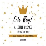 Oh boy cute baby shower with gold stars, golden crown. Boy birthday invitation baby shower template. Oh boy, a little prince text gold stars, golden crown. Boy Stock Photo