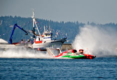 Oh Boy Oberto Hydro Race Boat. Unlimted hydro race boat along the log boom at Seafair on lake washington in seattle wa Royalty Free Stock Photography