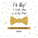 Oh boy textbaby shower with gold stars bow tie butterfly. Boy birthday invitation. Oh boy cute baby shower with gold stars bow tie butterfly Birthday invitation Royalty Free Stock Image