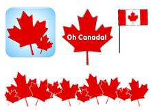 Oh Canada Day Clip Art. An illustration featuring an assortment of Canada Day clip art including flag, maple leaves and banners, eh Stock Photography