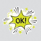 Oh cartoon illustration transparent. Cartoon message illustration on transparent background. Comic sound effect graphic. Ok letters posted on colorful Stock Images