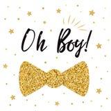 Oh chłopiec dziecka śliczna prysznic z złotem gra główna rolę łęku krawata motyla Chłopiec urodziny zaproszenie Fotografia Stock