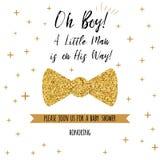 Oh chłopiec textbaby prysznic z złotem gra główna rolę łęku krawata motyla Chłopiec urodziny zaproszenie Obraz Royalty Free