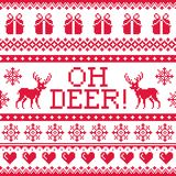 Oh deer red pattern, Christmas seamless design, winter background Royalty Free Stock Image