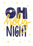 Oh holy night. Hand lettering Christmas poster or card design. Stock Photo