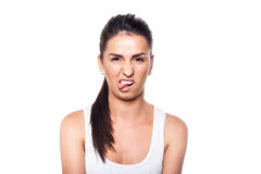 Oh, i'm disgusted!. NBeautiful girl on white Royalty Free Stock Photography
