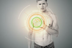 Oh ! Its paining a lot !. Sad man touching his chest in pain Royalty Free Stock Photo