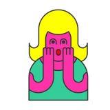 Oh mijn het pop-artstijl van de godsvrouw OMG-meisje in vrees de uitroep is royalty-vrije illustratie