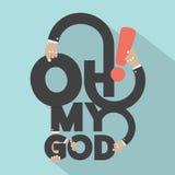 Oh Mijn Ontwerp van de Godstypografie Stock Foto