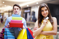 Oh my! She bought too much! Stock Images