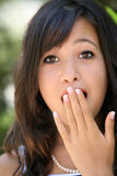 Oh my god!. Close-up portrait of a teenage girl very surprised Stock Photography