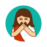 Oh my god Jesus emotion. OMG Christos Emoji. exclamation is shoc Royalty Free Stock Photo