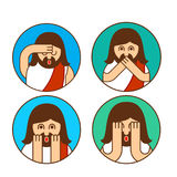 Oh my god Jesus emotion set. OMG Christos Emoji. exclamation is Stock Image
