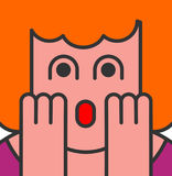 Oh my god woman pop art style. OMG girl in fear. exclamation is Stock Photography