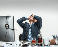 Oh my good, stressed businessman is taken for the head Stock Image