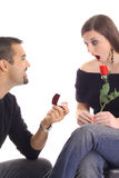 Oh my goodness surprise proposal Royalty Free Stock Photography