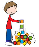 Oh, no... Boy building tower with colored blocks and everything collapsing while he puts the last block stock illustration