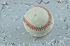 Oh no !. An base ball going through an broken window Royalty Free Stock Images