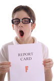 OH NO - F on report card. Shot of a boy with a bad report card Royalty Free Stock Photography