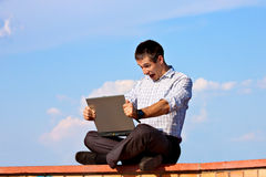 Oh. No! Man With Laptop Working Outdoor Royalty Free Stock Image