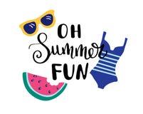Oh Sommer-Spaß Sommerzitat Handgeschrieben für Feiertagsgrußkarten Hand gezeichnete Abbildung Handgeschriebene Beschriftung lizenzfreie abbildung