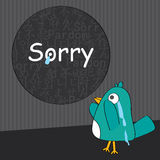 Oh Sorry_eps. Illustration of sorry frame at wall, one day bird realize the mistake and crying. --- This .eps file info Version: Illustrator 8 EPS Document: 10 royalty free illustration