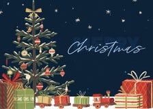 Oh Weihnachtsbaum-Feiertags-Karten-Schablone vektor abbildung