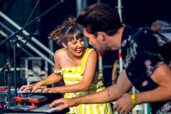 Oh Wonder alt-pop band perform in concert at Dcode Music Festival Stock Photos