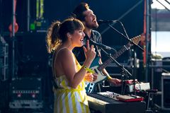 Oh Wonder alt-pop band perform in concert at Dcode Music Festival Royalty Free Stock Images