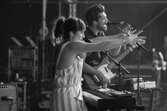 Oh Wonder alt-pop band perform in concert at Dcode Music Festival Royalty Free Stock Photography