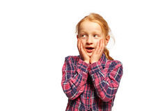 Oh The. Young girl say Oh the royalty free stock photography