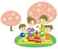 Ohanami, familie, de partij van de kersenbloesem stock illustratie