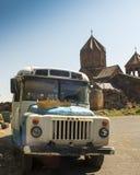 Ohanavan Armenien, 15th September 2017: Gammal buss på den gamla Medien Arkivfoto