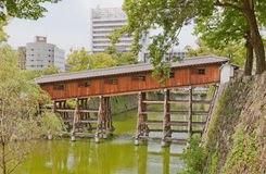 Ohashiroka zakrywał most Wakayama kasztel, Japonia Fotografia Royalty Free