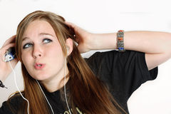 Ohh Baby..... A teenage girl listening to her mp3 player Royalty Free Stock Photo