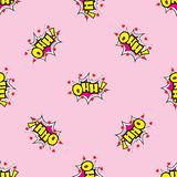 OHH Comic sound effects in pop art style seamless pattern royalty free illustration