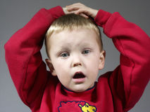 Ohh noo. Child surprised or in trouble Royalty Free Stock Photo